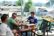 First stop at Leavenworth - so hot so nice to have cool mist spraying