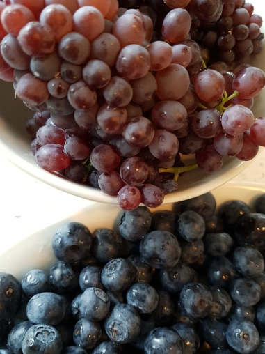 teeny grapes top, and blueberries below