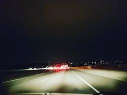 Nightime drive to Seattle on I90 bridge
